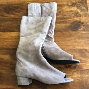 Jeffrey Campbell peep toe suede boots